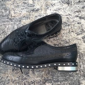 Jeffrey Campbell Silver Studded Leather Loafers